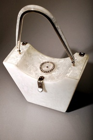 white lucite purse