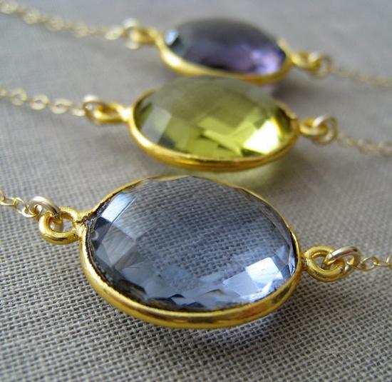 SALEGemstone Bezel pendant necklace purple amethyst by #NYmetals