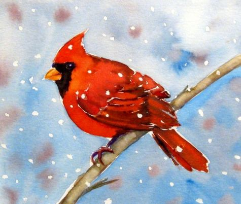 """Christmas Cardinal II""Merry Christmas, painting by artist Meltem Kilic"