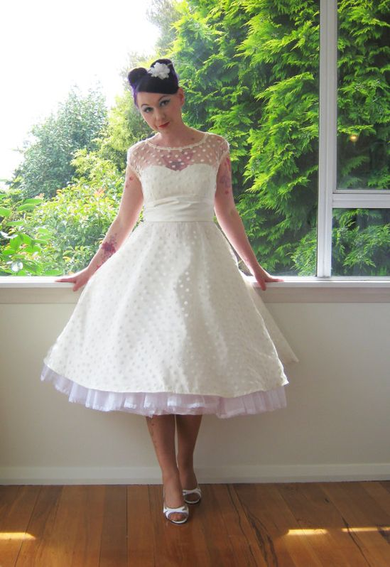 1950's Style Ivory Wedding Dress with Polka Dot Overlay, Sweetheart Neckline and Tea Length Skirt and Petticoat - Custom made to fit
