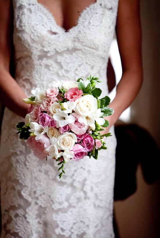 beautiful dress and bouquet