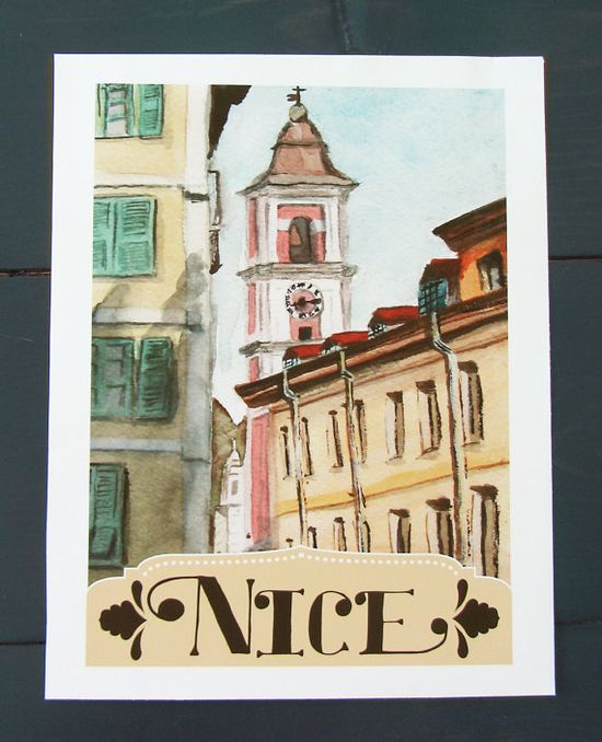 Nice France Travel Poster by StripedCatStudio on Etsy