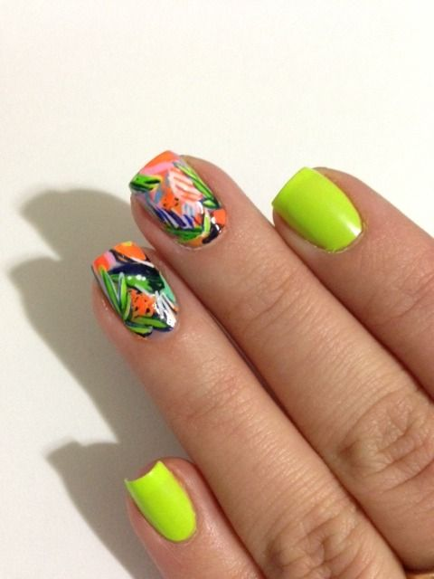 neon summertime nails