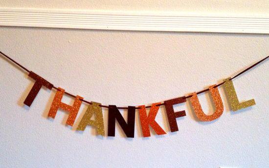 Thankful Glitter Banner : GlamBanners #thanksgiving