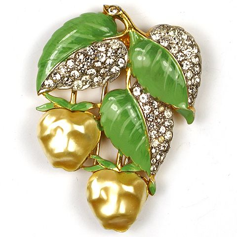 Trifari 'Alfred Philippe' Pearl Belly and Enamel Apples Pin Clip