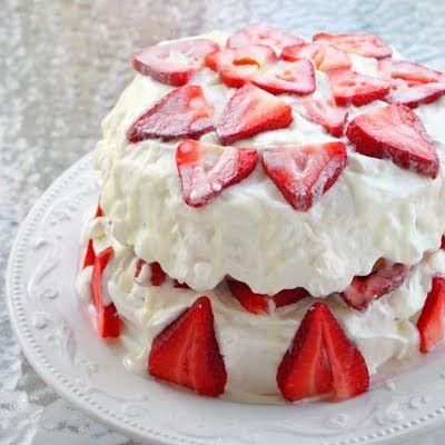 Strawberry Shortcake with Almond Glaze - bjl