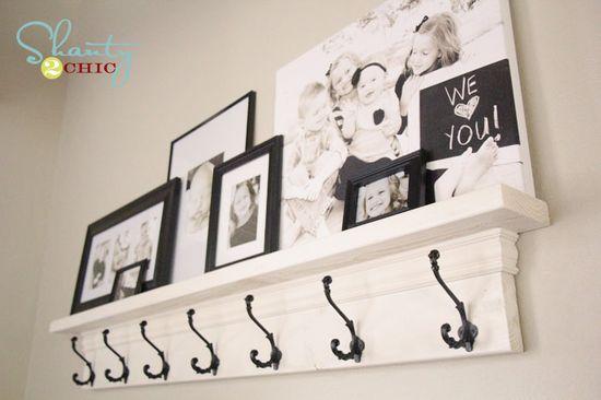 DIY Entryway Shelf with Hooks