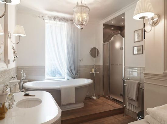 Home Design, Gray White Traditional Bathroom Decor: Home with Traditional Visualized