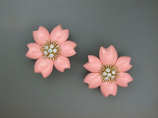 CORAL FLORAL, VAN CLEEF & ARPELS EARRINGS, Circa 1960's