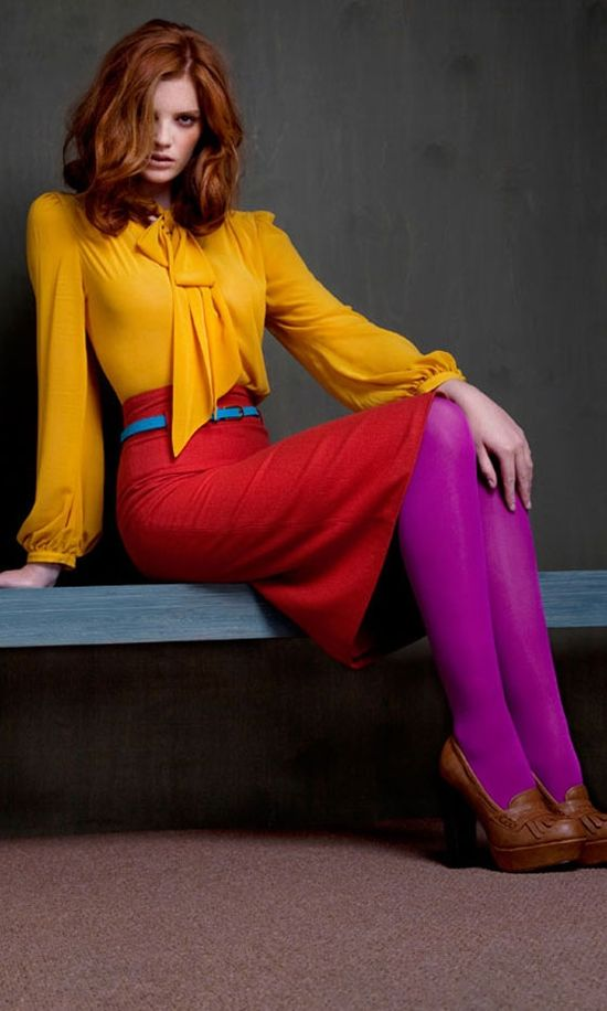 I love colorful tights in Winter!