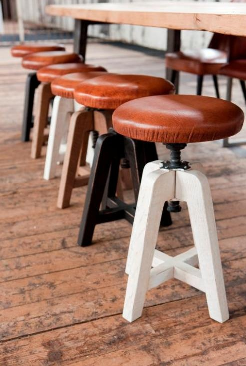 Leather -?- stool