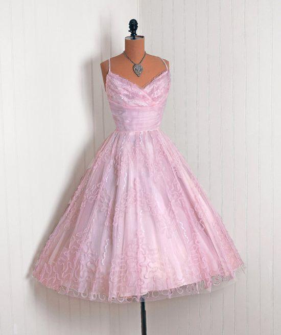 1950's Vintage Pink Wedding Party Dress