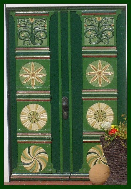 Painted green doors. Germany