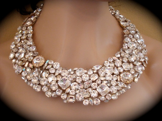 Chunky Swarovski Crystal Bridal Statement Necklace by The Crystal Rose Wedding Jewelry. $300.00, via Etsy.