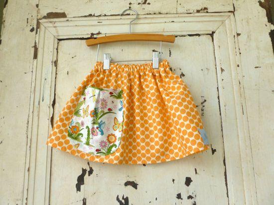 Girls Skirt  Orange Polka Dots on Cream   Modern by zoegirldesigns