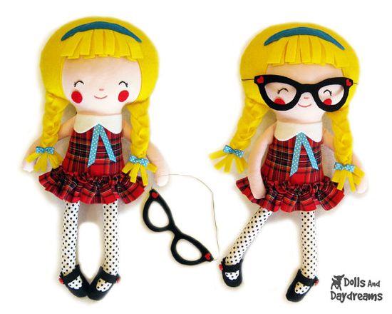 Schoolgirl Sewing Pattern PDF  Removable Doll by DollsAndDaydreams, $12.00