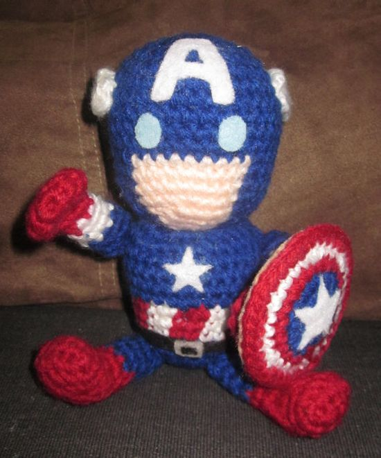 """""""Super Adorable crochet Amigurumi Captain America. $35.00, via Etsy."""" #Amigurumi  #crochet"""
