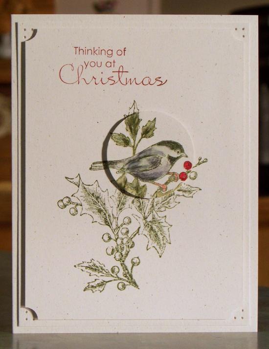 Set of 4 Handmade Christmas Cards - Stampin Up BEAUTIFUL SEASON. $14.00, via Etsy.