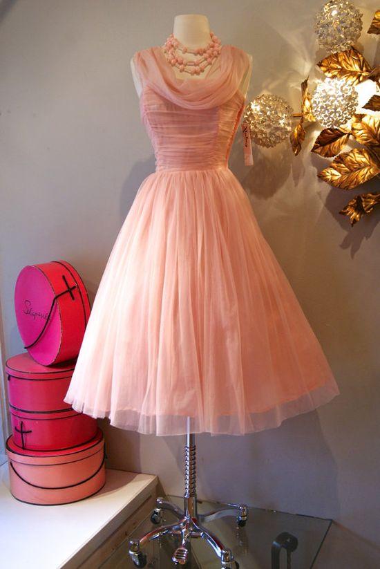 Vintage Pink Chiffon #dress #1950s #partydress #vintage #frock #silk #retro #teadress #petticoat #romantic #feminine #fashion
