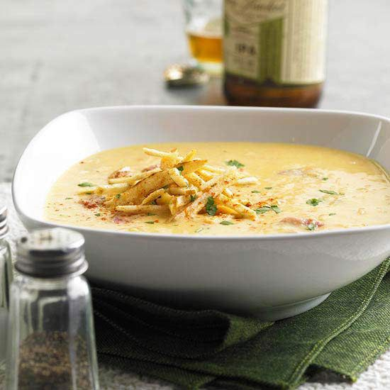 For a hearty, Irish-inspired dish, we suggest this savory Smoky Cheese and Potato Soup. See more St. Patrick's Day recipes: www.bhg.com/...