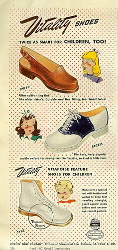 Vitality Shoes - they're twice as smart for children, too! #vintage #1940s #shoes #kids_clothes #ads