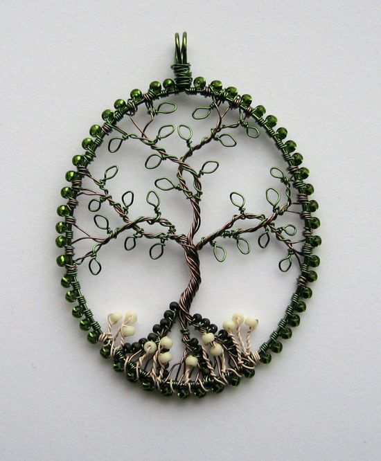 In The Woods beaded and wire wrapped tree of life pendant with mushrooms.  via Etsy.
