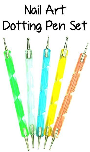 Nail Art Dotting Pen Set: 1.76 + FREE Shipping!! {+ Polka Dot Nail Art video tutorial!} ~ at TheFrugalGirls.com #nailart #nails #manicure