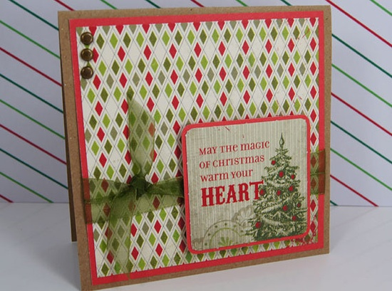 Christmas Cards Holiday Quotes Vintage Antique Inspired Red Olive Green Brown Kraft Set of 3  $7.00