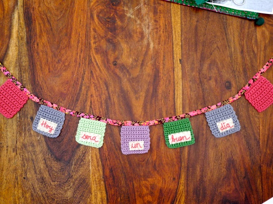 Crochet Bunting with Embroidered words