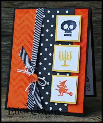 handmade Halloween card by Erica Cerwin ... inchies with solid color images ... orange base with chevrons ... black column with white polka dots ... black and white riboon ... orange button ... white string .. great combo for Halloween! ... Stampin' Up!