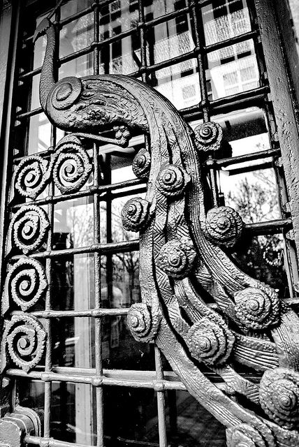 Budapest, Art Nouveau peacock door. @Deidré Wallace