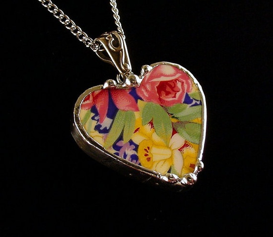 Broken China Jewelry Heart Pendant necklace Royal Winton Welbeck chintz by Dishfunctional Designs