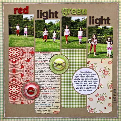 Red Light, Green Light - Scrapbook.com - again the strips can use the scraps