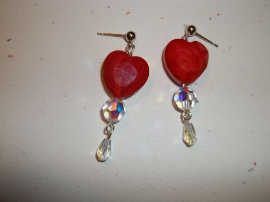 Romantic Valentine  Heart and Crystal Earrings on Etsy, $16.00