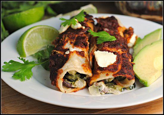 Black Bean-Roasted Zucchini-Goat Cheese Enchiladas by preventionrd #Enchiladas #Vegan