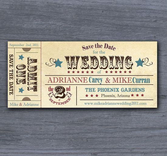 Rustic Save the wedding date 'ticket'