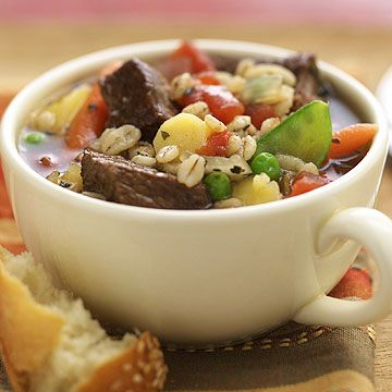 This Barley-Beef Soup is overflowing with healthy veggies and quick-cooking barley.