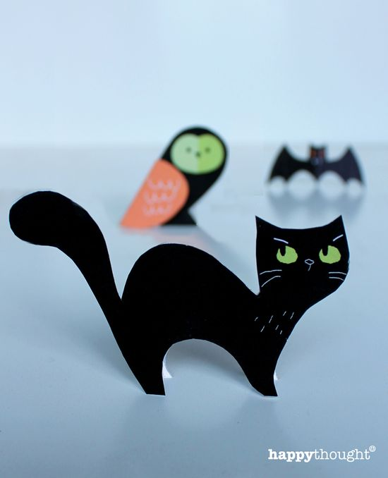 cute bats, cats & owls - free paper craft printables for Halloween. printablepaperpro...
