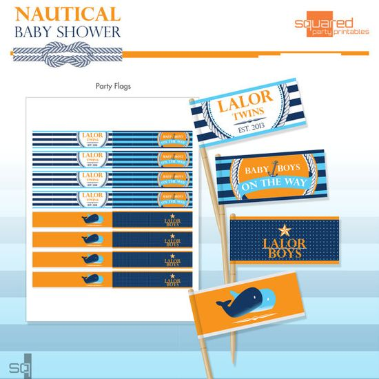 Nautical Baby Shower Party Flags - Baby Whale Flags - DIY Print - Do-It-Yourself