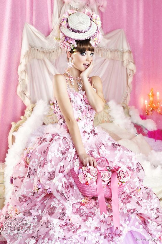 Bridal Pink - pink wedding dress; pink floral print wedding dress