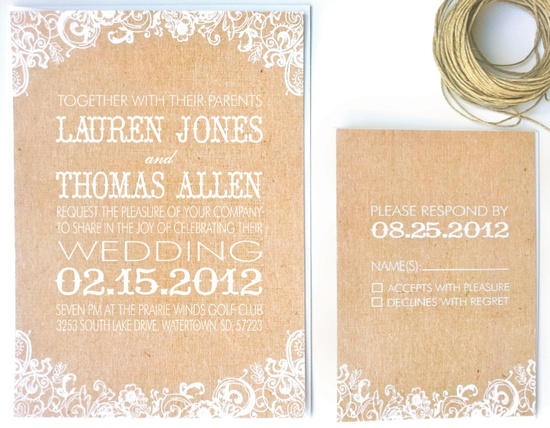 Wedding Invitation White Floral & Kraft Paper.
