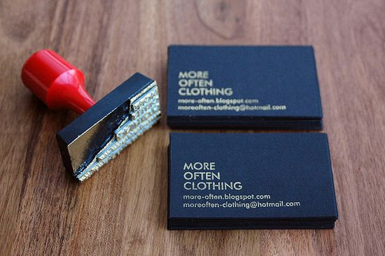 stamped business card/white on black