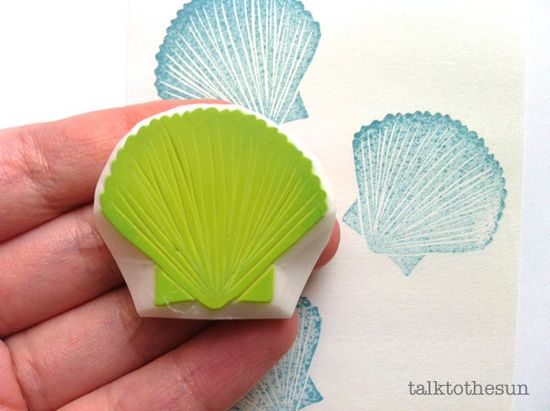 sea shell rubber stamp. hand carved rubber stamp. by talktothesun, $8.00