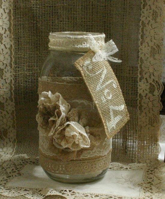 Burlap wedding FLOWER vase, ViNTAGE LACE candle holder, FALL WEDDiNG, rustic, shabby chic, country chic via Etsy