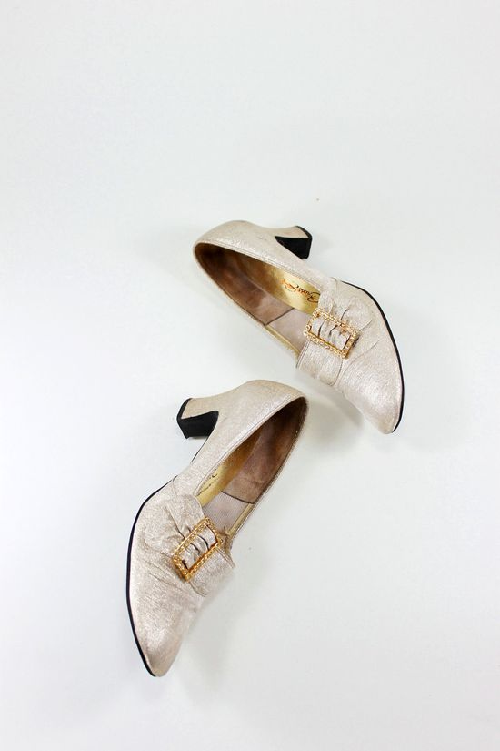 1960s Gold Metallic Rhinestone Heels