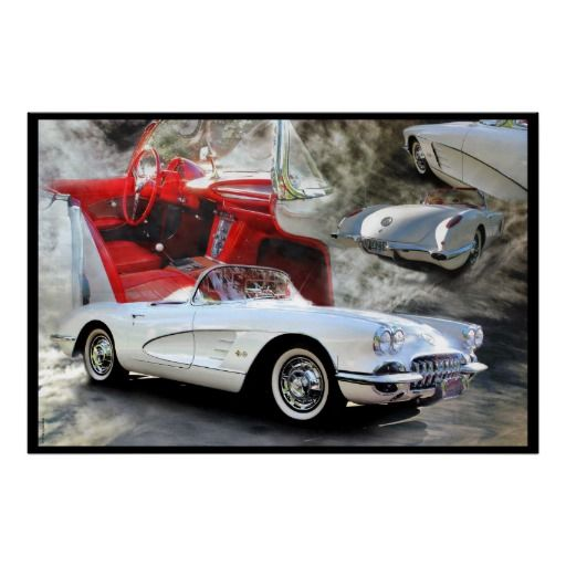 American Sports Car Poster. Classic Corvette montage, beautiful car!