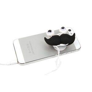 Fone de ouvido, enrola fio e suporte para smart phones de bigode.