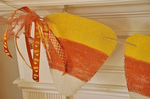 Candy Corn Painted Burlap Banner