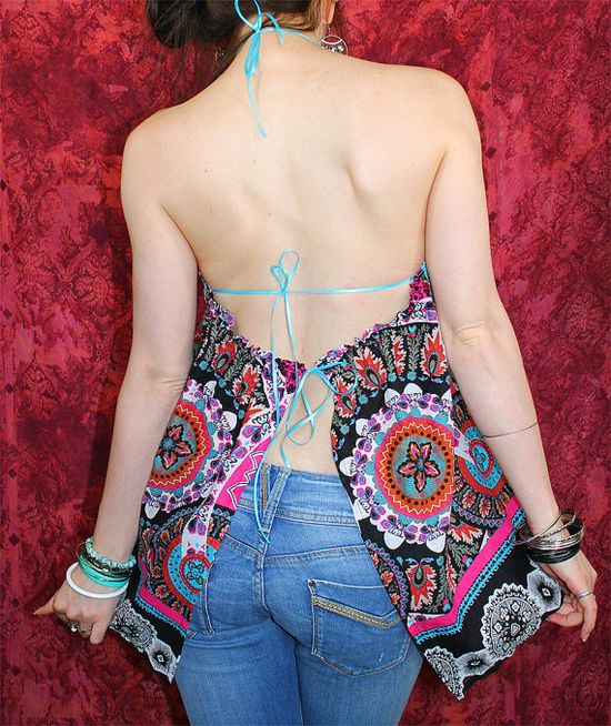 Bohemian top open back backless halter Boho Hippie layering shirt Upcycled clothing summer festival One of a Kind by TheBohemianDream, €32.00