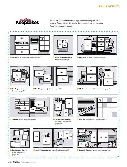 Creating Keepsakes Free Bonus Sketches: Created for the May/June 2013 issue of Creating Keepsakes magazine. www.creatingkeeps...